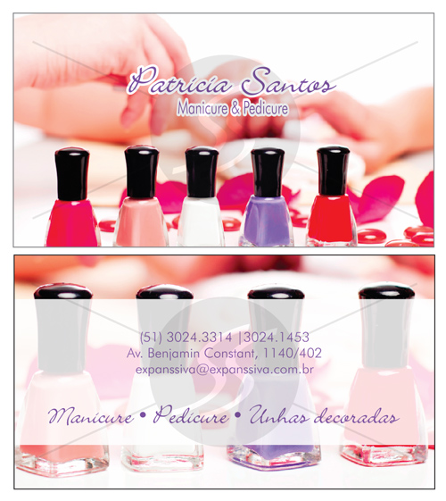 Cartões De Visita Para Manicure M2391 Gráfica Expanssiva