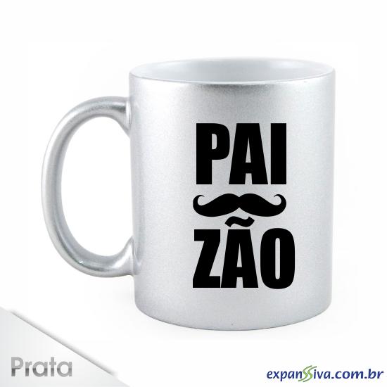 caneca prata com bigode dia dos pais - Canecas Personalizadas e Criativas para o dia dos Pais