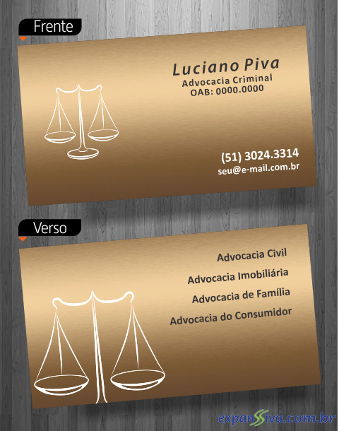 cartão de visita advogado luxo