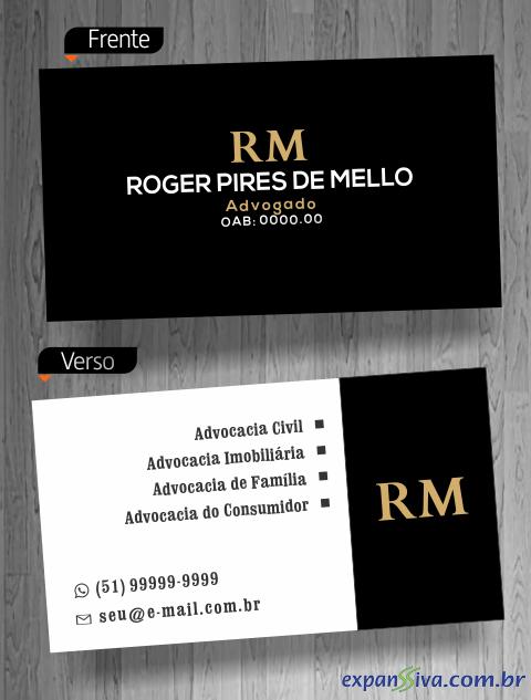 cartão visita advogado moderno
