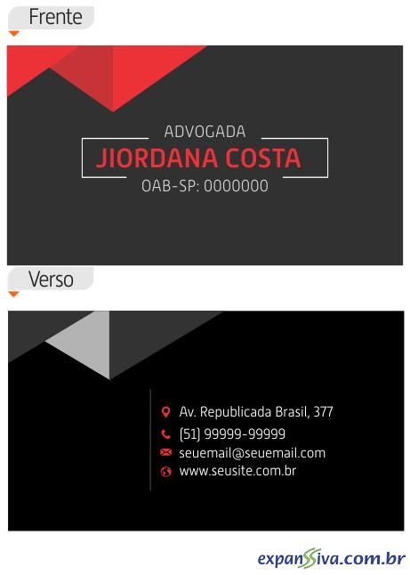 Cartão de Visita Preto para Advogados