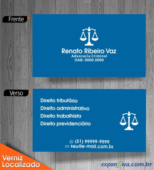 Cartão de Visita Azul para Advogados