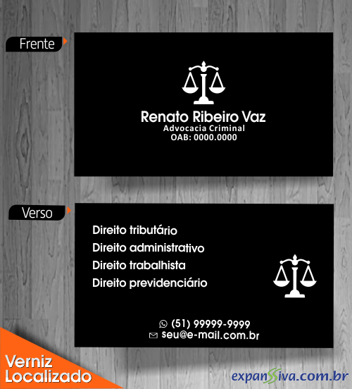 Cartão de Visita Preto para Advogado