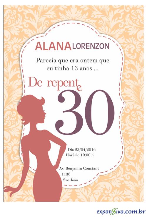 Convites Para 30 Anos M7545 Gráfica Expanssiva