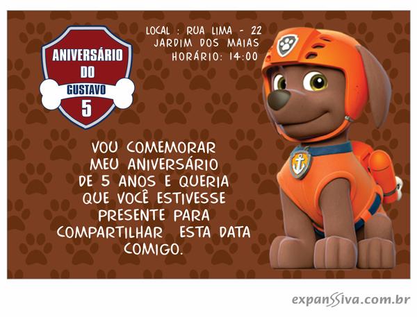 Convites Infantis Para Patrulha Canina M6934 Gráfica Expanssiva