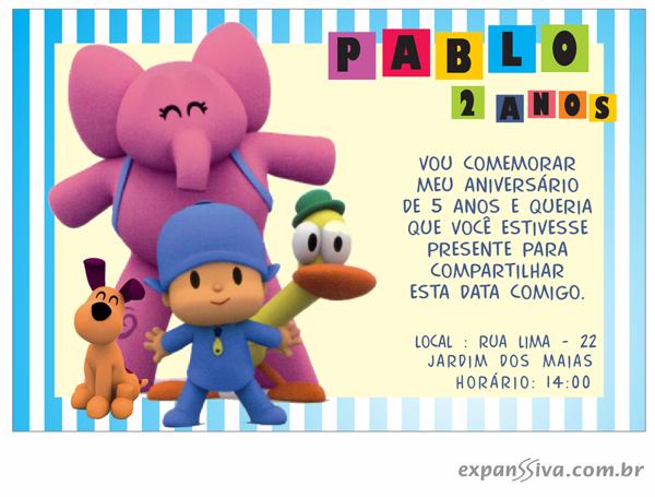 Convites Infantis Para Pocoyo M6947