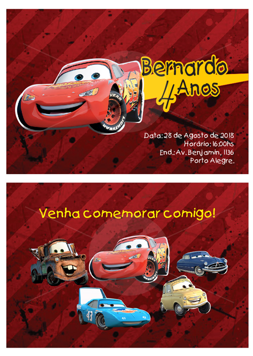 Convites Infantis Para Carros M3566 Gráfica Expanssiva