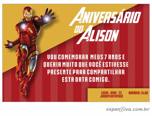 Convites Infantis Para Homem De Ferro M6784 Gráfica Expanssiva