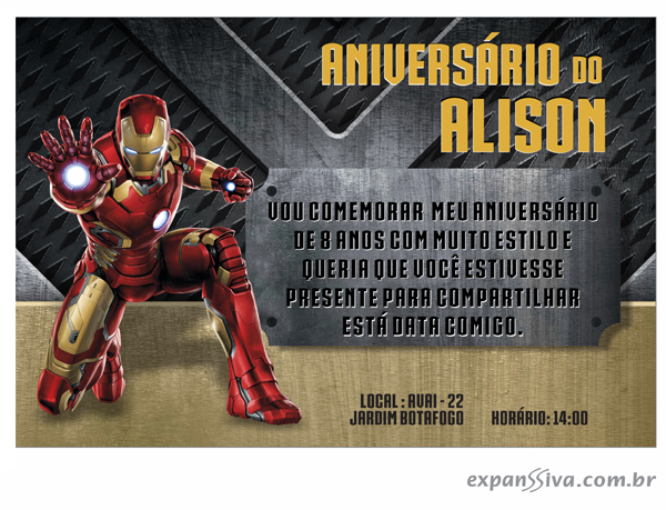 Convites Infantis Para Homem De Ferro M6789 Gráfica Expanssiva