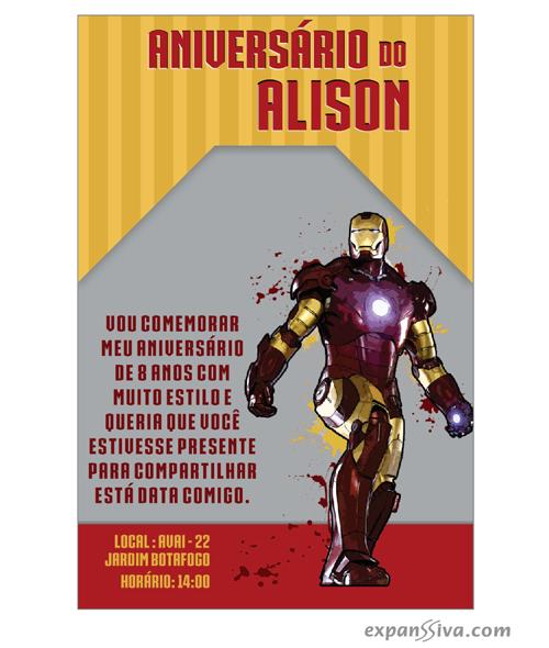 Convites Infantis Para Homem De Ferro M6792 Gráfica Expanssiva