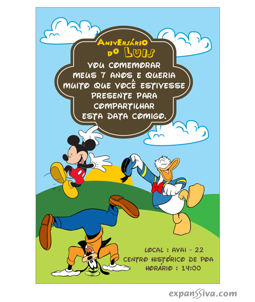 Convites Infantis Para Mickey M6777 Gráfica Expanssiva