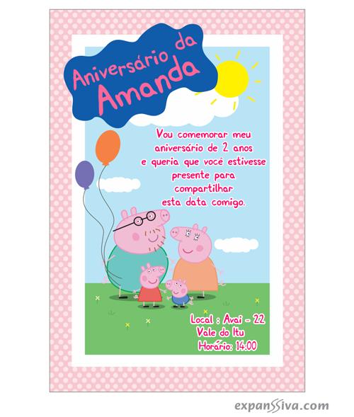 Convites Infantis Para Peppa Pig M6812 Gráfica Expanssiva
