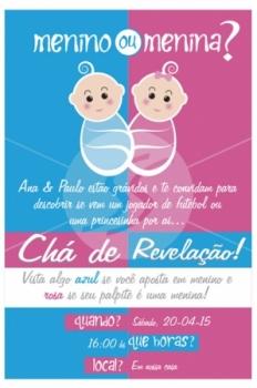 Convite de chá de revelação rosa e azul