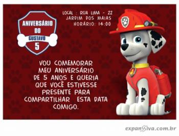 Convite de Aniversário Patrulha Canina
