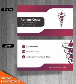 Cartão de Visita de Fisioterapia com fundo em tons de bordô contrastando com branco claro e logotipo da fisioterapia estilizado
