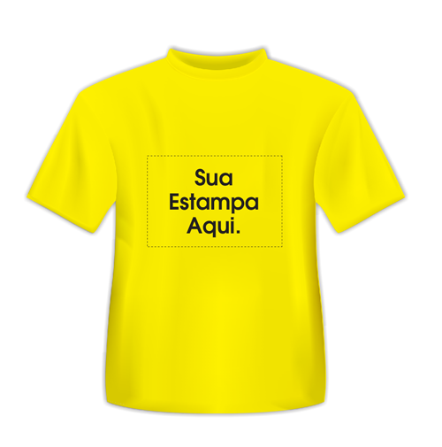 15e119a70 Camiseta Personalizada Amarela - Poliéster - Área Impressa 21x29