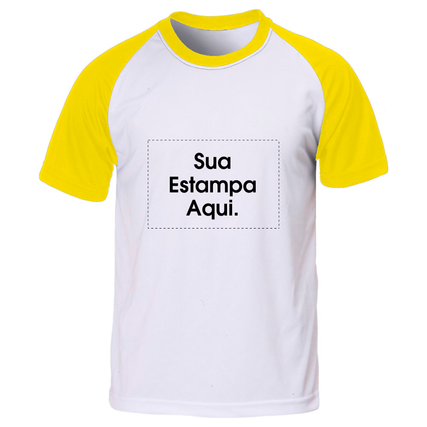 978eca08f Camiseta Personalizada Manga e Gola Amarela - Poliéster - Área Impressa  21x29
