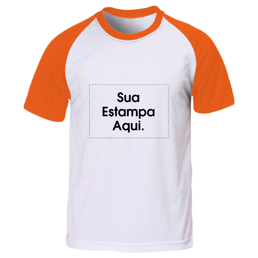 d28658a0bb Camiseta Personalizada Manga e Gola Laranja - Poliéster - Área Impressa  21x29