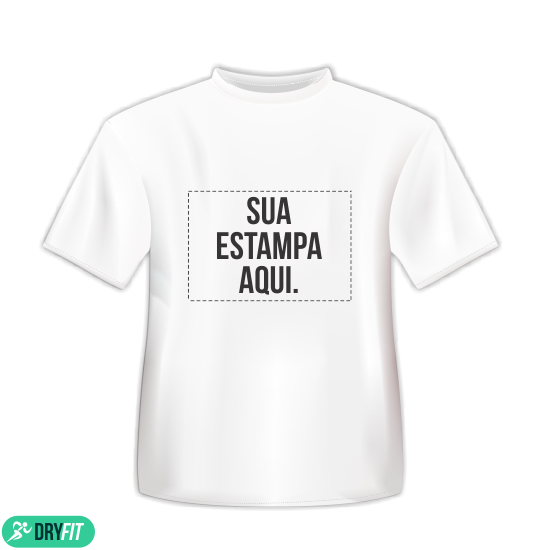 e310b2ebe Camiseta Dry Fit - Personalizada Branca - Área Impressa 21x29