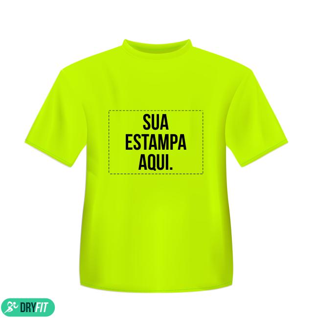 e858121897254 Camiseta Dry Fit - Personalizada Amarela - Área Impressa 21x29