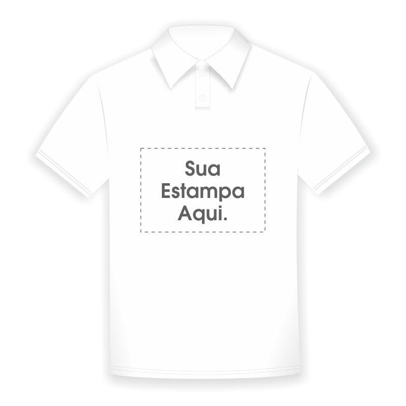 Camiseta Polo Personalizada Branca - Poliéster - Área Impressa 21x29 ... ef306c5f5c1