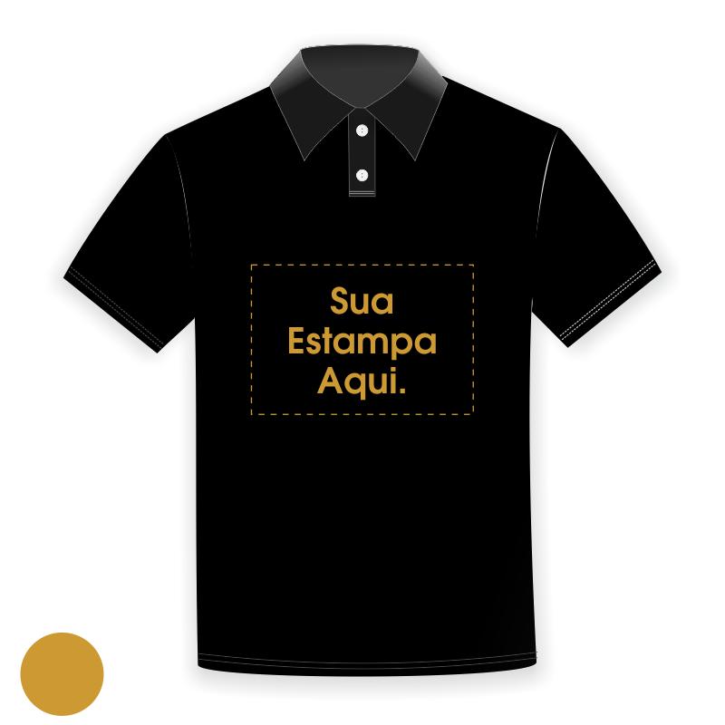 Camiseta Polo Personalizada Preta - Poliéster - Estampa Dourada ... 1adfb7d585ea1
