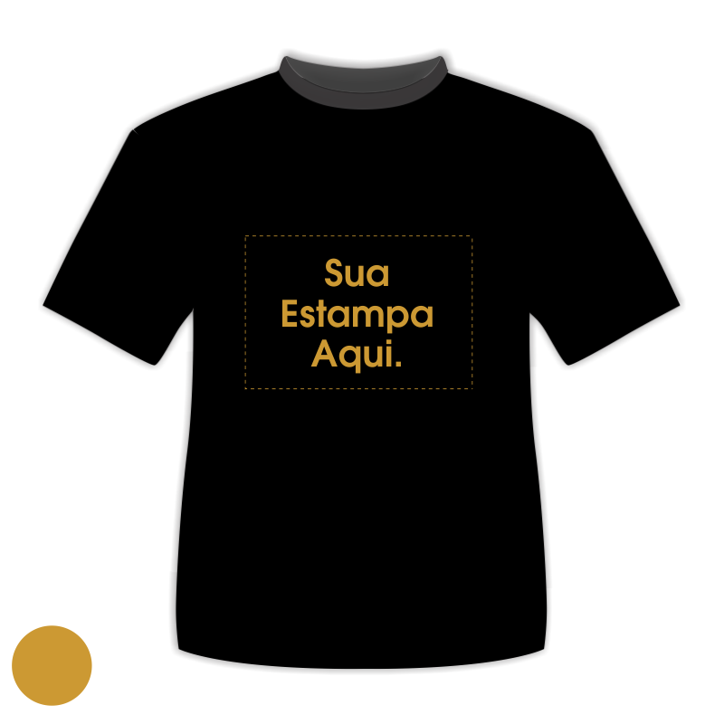 45f3236f1 Camiseta Personalizada Preta - Poliéster - Estampa Dourada