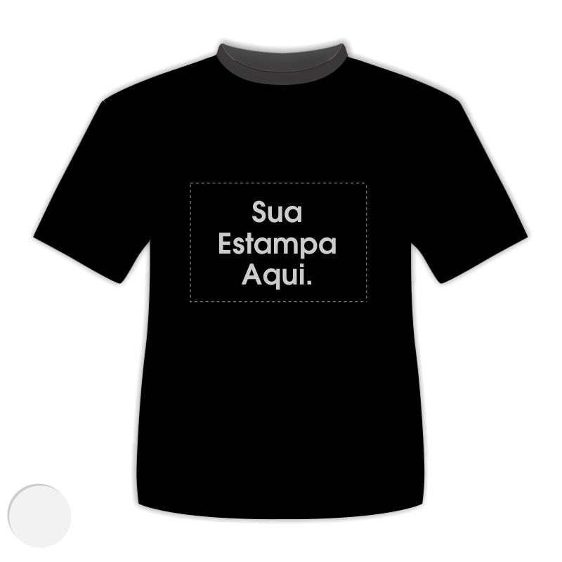 605768b6b Camiseta Personalizada Preta - Poliéster - Estampa Prateada ...