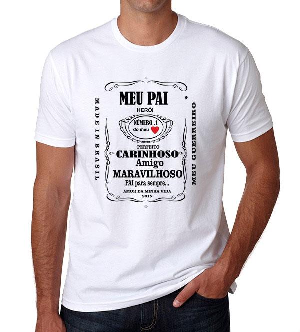 c02618d30 Camiseta Dia dos Pais - Personalizada Branca - Poliéster - Área Impressa  21x29