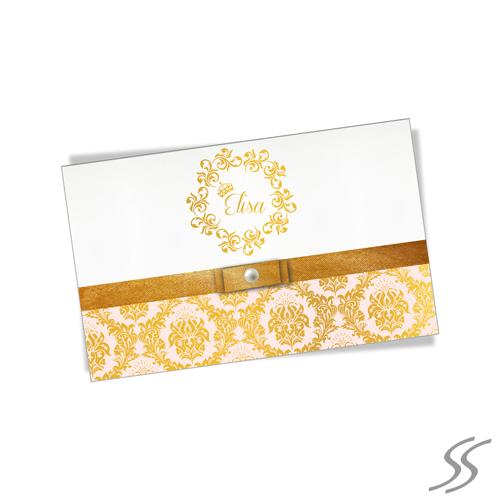 aa931f65a Convite de 15 Anos - Linha Gold - Papel Aspen 180gr - Fita Cetim + Pérola -  Auto Envelope