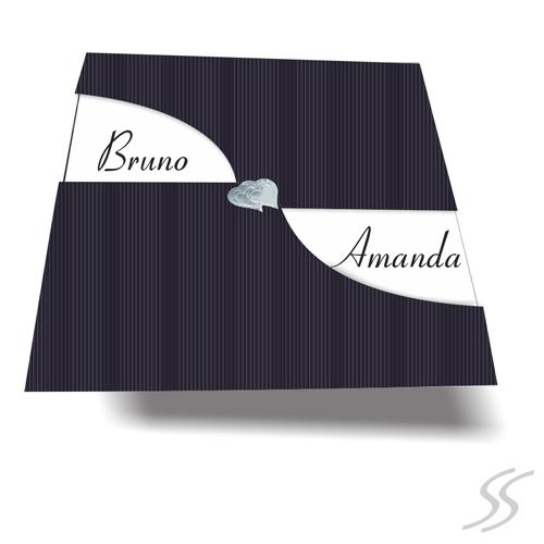 Convite de Casamento GREAT- Envelope Color Plus180gr. c/ Corte Especial *2 opções de cores - c/ Lacre -21x21,6 cm - Convite em Papel Couchê 250gr.