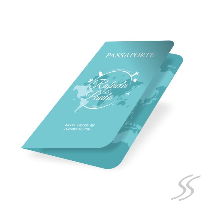 Convite de Casamento - 11,5x14,5 cm -  Tipo Passaporte - Impresso Frente e Verso