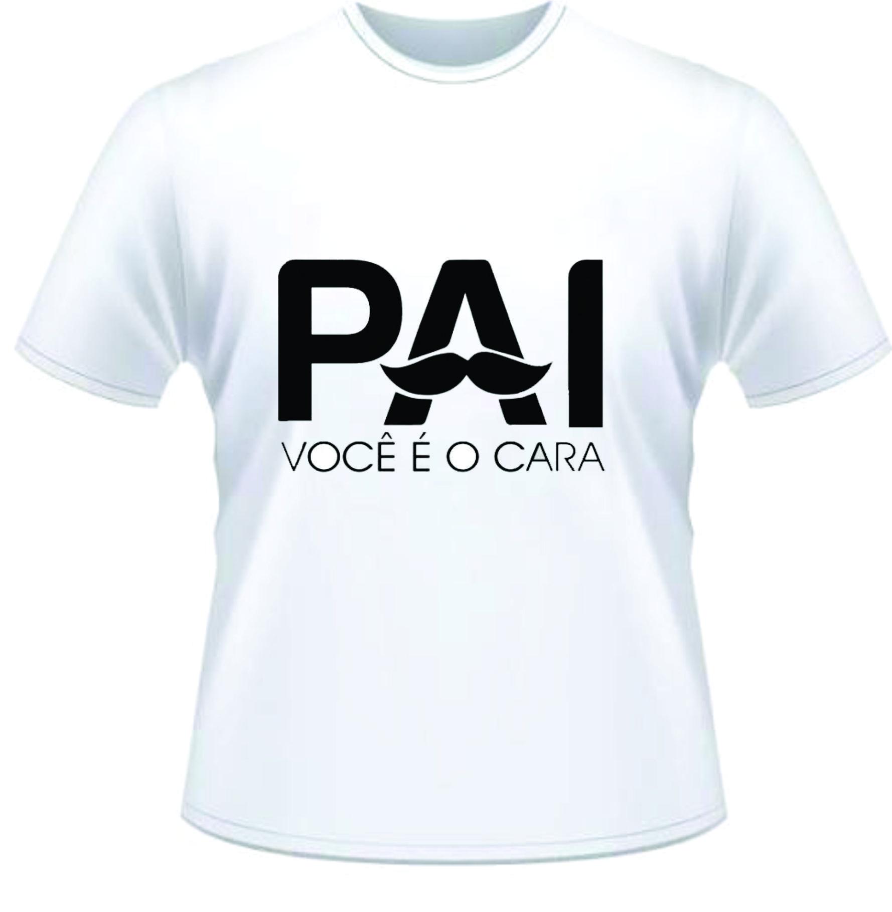Camiseta Dia Dos Pais Personalizada Branca Poliéster área