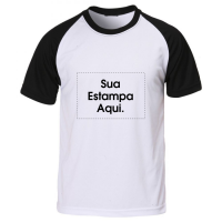 Camiseta Personalizada Manga e Gola Preta - Poliéster - Área Impressa  21x29 a34c3c55a16